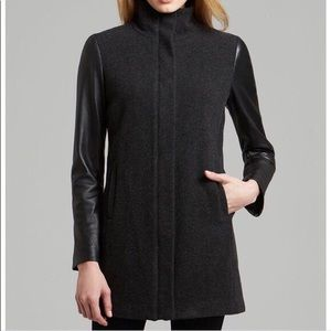 Eileen Fisher High Collar Coat Leather Sleeves